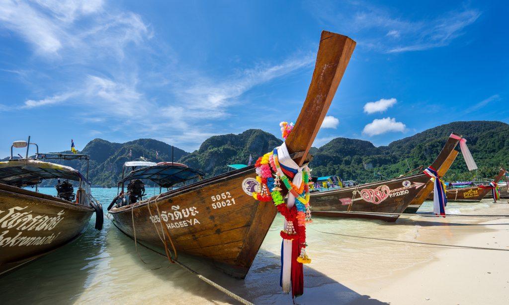 Longtail boats at Thai beach