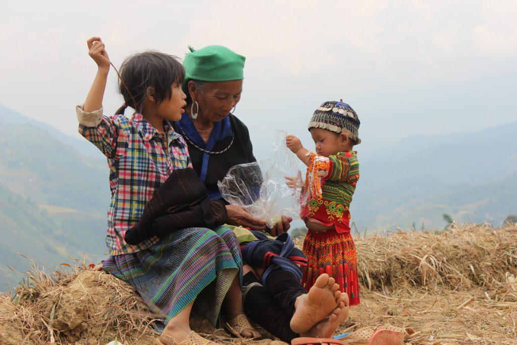 Hilltribe grandmother and grandchildren in Vietnam