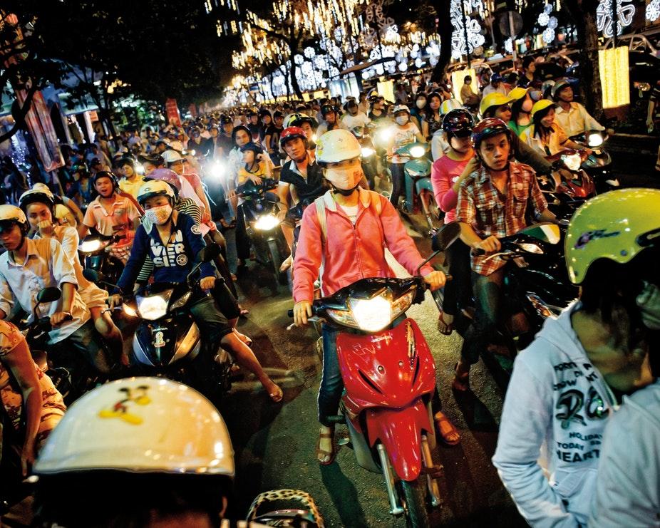 Busy traffic in Ho Chi Minh city, Vietnam