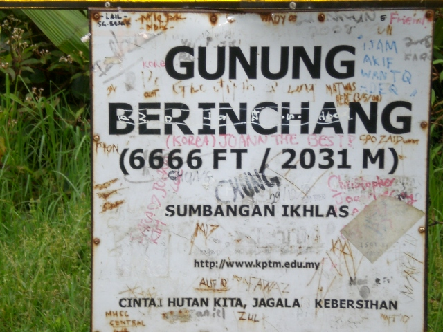 Sign on top of Gunung Brinchang, Cameron Highlands