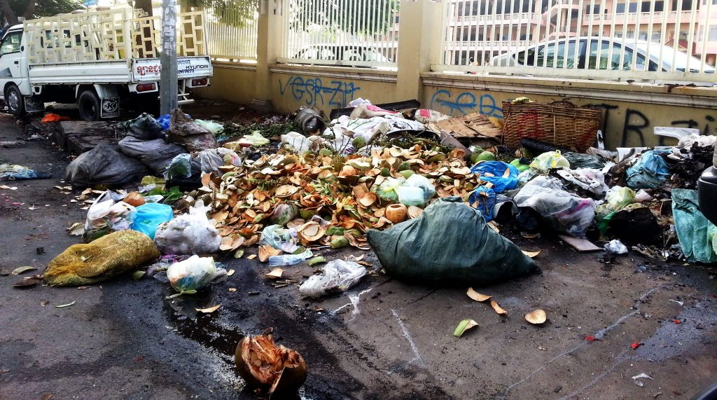 Garbage in the Phnom penh streets