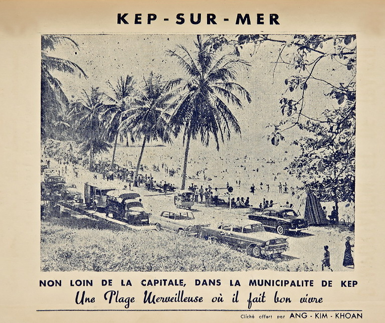 Black and white tourism brochure about Kep
