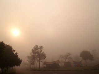 Morning mist at the Khao Yai camp ground