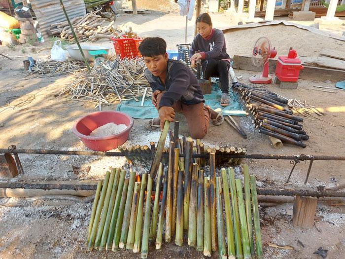 Preparing Kralan - 5 Cambodian Foods