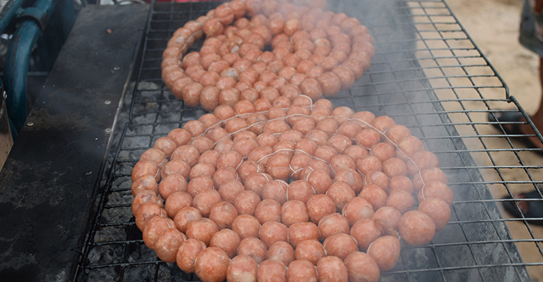 Isan sausage on the grill in Nong Khai