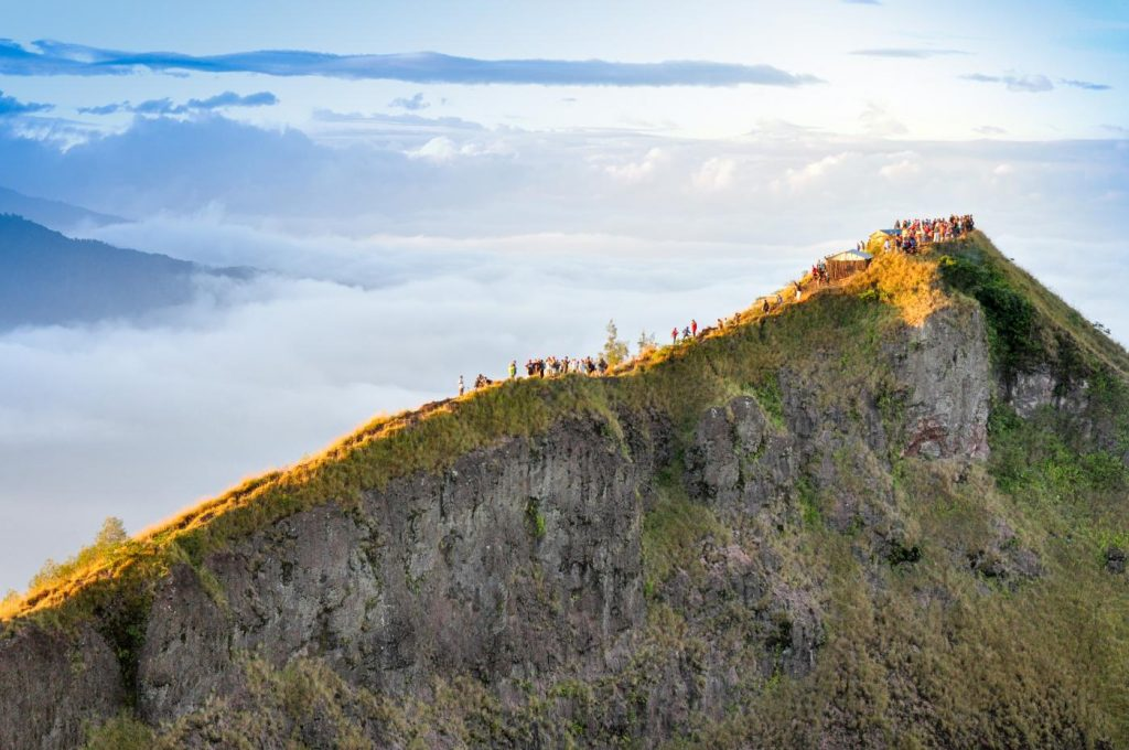 Climbers on a ridge of Mount Batur