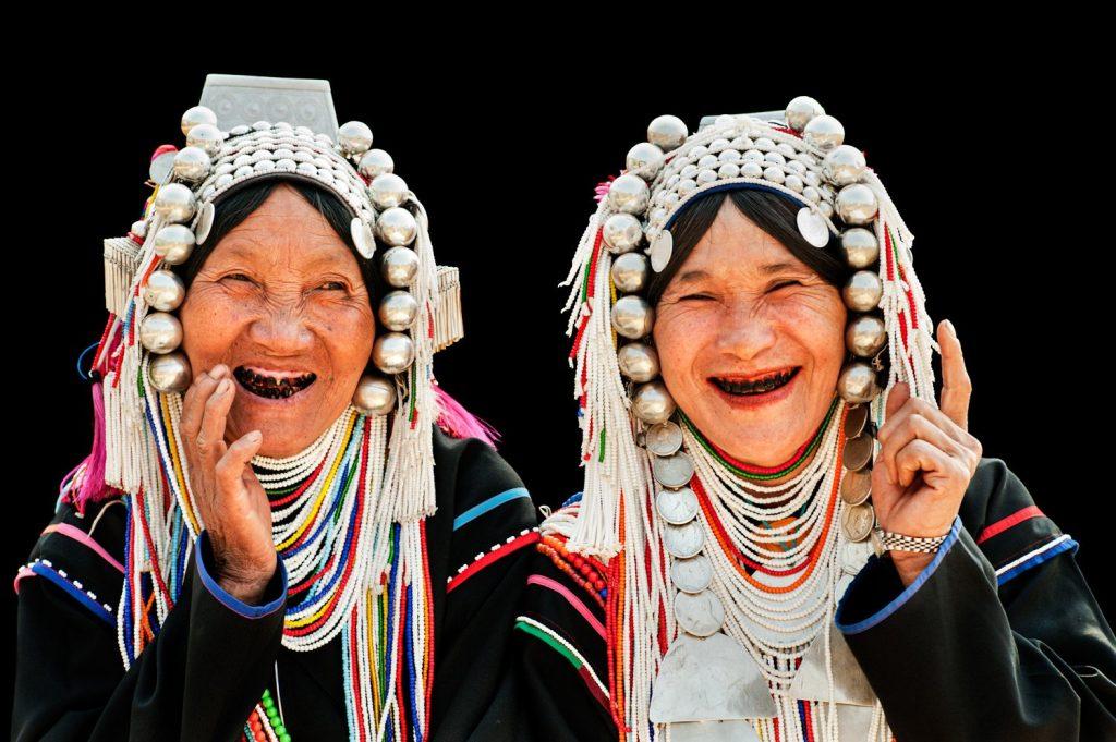 Two Akha women having fun in Chiang Mai