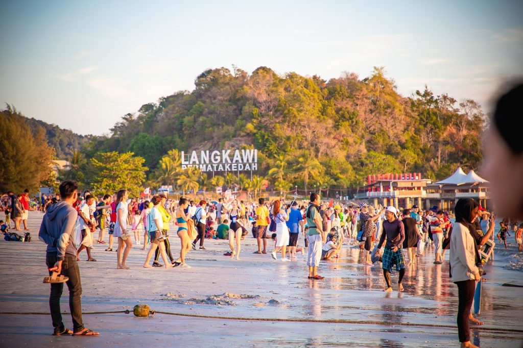 Crowded beach in Langkawi